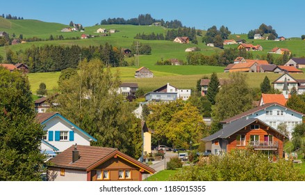 Town of Appenzell in Switzerland in September. Appenzell is the capital of the Swiss canton of Appenzell Innerrhoden.