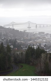 The town of Astoria, Oregon, on a foggy Pacific Northwest morning