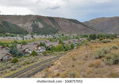 Town of Avon near Eagle river valley in Rocky Mountains   Eagle County, Colorado