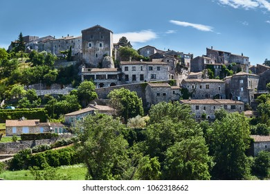 The town of Balazuc on the River Ardeche in France