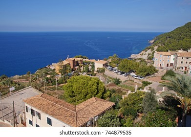 The town of Banyalbufar on the western side of the Spanish Balearic island of Majorca on a sunny day and a view to the sea