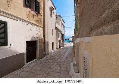 Town of Baska, Street View on the Island of Krk, Croatia.