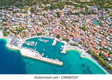 Town of Baska Voda beach and waterfront aerial view, Makarska riviera in Dalmatia, Croatia