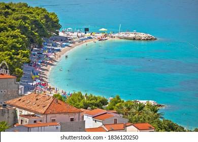 Town of Baska Voda beach and waterfront view, Makarska riviera in Dalmatia, Croatia - Shutterstock ID 1836120250