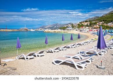 Town of Baska Voda beach and waterfront view, Makarska riviera in Dalmatia, Croatia - Shutterstock ID 1934223578