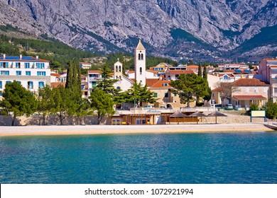 Town of Baska Voda waterfront view, Makarska riviera in Dalmatia, Croatia