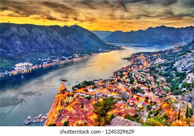 The Town and the Bay of Kotor at sunset. Montenegro - Balkans, Europe