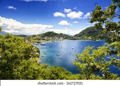 Town and bay of Terre-de-Haut, capital of Les Saintes islands, Guadeloupe archipelago, Caribbean Sea
