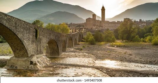 The town of Bobbio and the old medieval bridge. Bobbio, Piacenza province, Emilia Romagna, Italy.