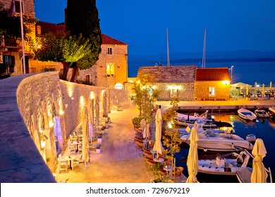Town of Bol on Brac island waterfront at evening view, Dalmatia region of Croatia