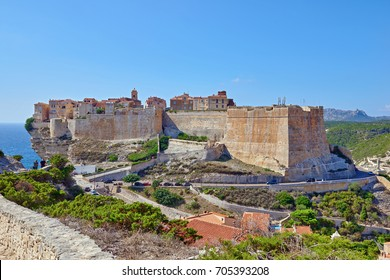 The town of Bonifacio in the south of the island Corsica