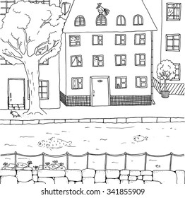 Town canal. Hand drawn illustration.
