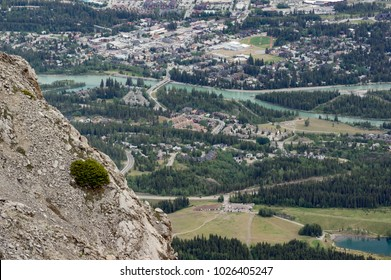 Town of Canmore, Alberta, Canada as viewed from Ha Ling Peak to the west in springtime