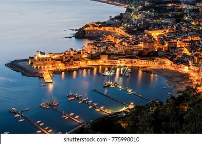 The town of Castellammare del Golfo at dawn, Province of Trapani, Sicily