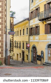 Town of Cavalese, Trentino, Dolomites, Italy-August 22, 2014: A small comune in Trentino, a ski resort and main center in Fiemme valley