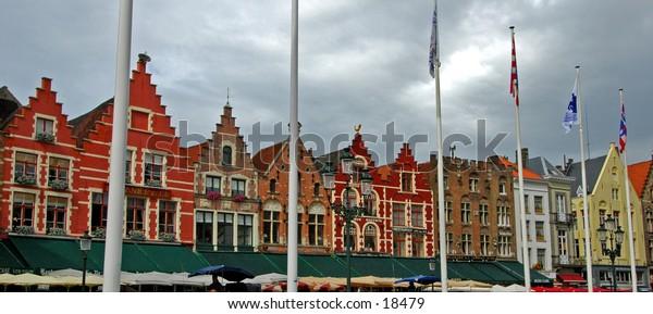 The Town Centers Colorful Buildings Of Beautiful Brugge, Belgium
