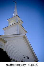 Town chapel steeple in a New Hampshire suburb