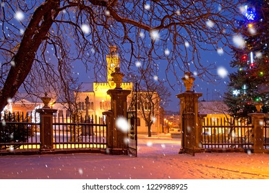 A town in the Christmastime in the snowfall