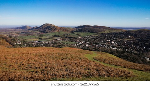The Town of Church Stretton in Shropshire, England. Seen from the Long Mynd Hills above the Town. Autumnal panoramic landscape.