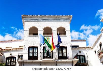 Town City Hall in Nerja, an attractive tourist resort on Costa del Sol (close to the Balcon de Europa), Malaga Province, Andalucia, Spain