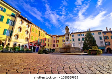 Town of Cividale del Friuli colorful Italian square view, Friuli-Venezia Giulia region of Italy