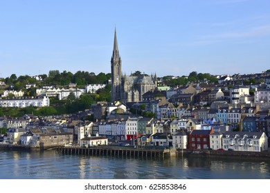 Town of Cobh Ireland and St. Colman Cathedral.