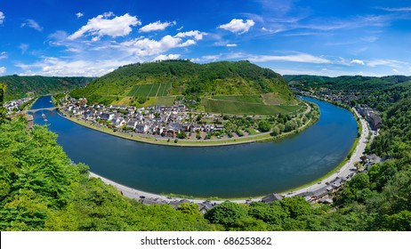 The town of Cochem, Germany, in the summer. It lies in the most romantic part of the Moselle Valley, where the river curves between two hiking paradises - Eifel and Hunsrueck.