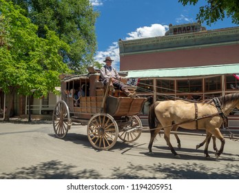 Town of Columbia, Gold County, California, USA - July 2018: Horse Cart Riding, tourist attraction