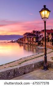 town of Combarro at sunrise, Pontevedra, Galicia, Spain.