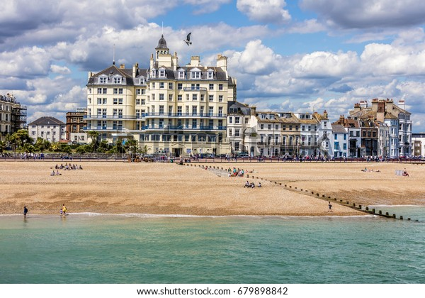 Town Eastbourne Seaside Beach Front Sussex Stock Photo (Edit
