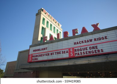 TOWN OF FAIRFAX, CALIFORNIA - JANUARY 5, 2017: The Fairfax Theater 6 plan to sell alcohol is stirring up bad blood between Fairfax that approves and neighboring San Anselmo.