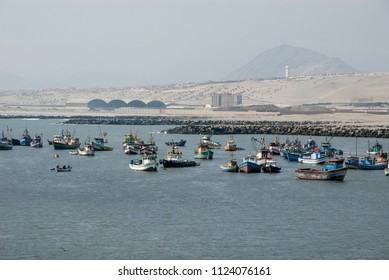 Town and fishing boats, Salaverry, Trujillo, Peru - October 27 2013