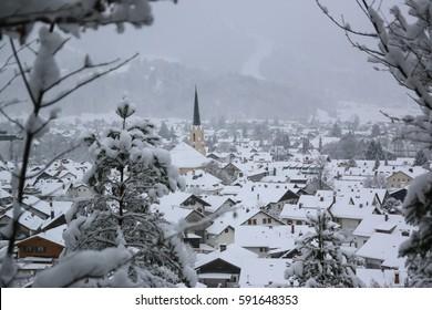 Town of Garmisch-Partenkirchen in Winter