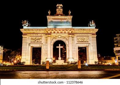 """town gate """"Porta de la Mar"""", Valencia, Spain at night"""
