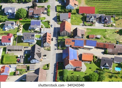 Town in Germany, aerial photography. There are a lot of solar panels on the roofs