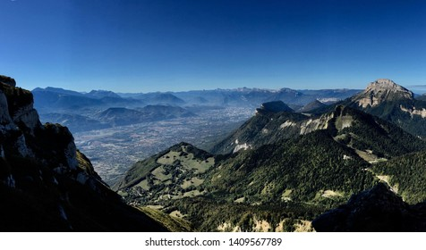 The town of Grenoble in France seen from the col des Ayes