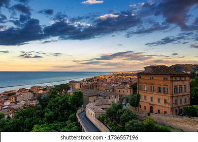 The town of Grottammare along the Adriatic coast with the warm sunset light