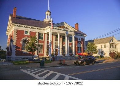 Town hall, the Akeley Memorial Building in the rural village of Stowe Vermont, USA