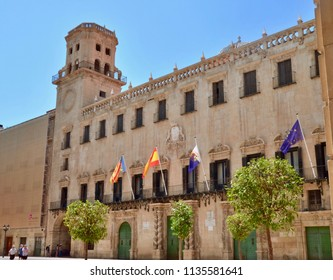 Town hall in Alicante city, Baroque landmark building by architect Lorenzo Chápuli. Alicante costa Brava, Spain Europe. July 2018