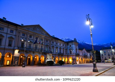 Town Hall of Aosta, Aosta in the spring evening, Valle d'Aosta, Italy