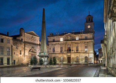 Town Hall of Arles and Place de la Republique square at dusk in Arles, Bouches-du-Rhone, France
