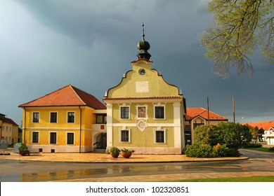 Town hall of Borovany in the Ceske Budejovice region, Southern Bohemia, Czech Republic