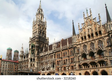 Town hall building in Marienplatz, Munich, Germany. Frauenkirche towers in the background.