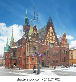 Town hall building in the Market Square (Rynek Glowny) in Wroclaw, Poland