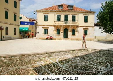 town hall at center square of Skradin rural village