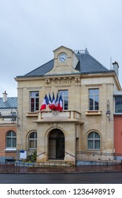 """Town hall of Chatillon, France. """"Town hall"""" written in french. French flags."""