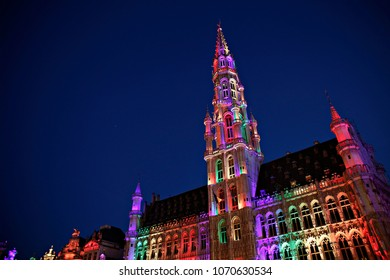 The Town Hall of the City of Brussels illuminated in the rainbow colours during a Belgian Pride in  Brussels, Belgium on May 20, 2017