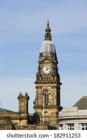 Town Hall clock tower over Bolton, England.