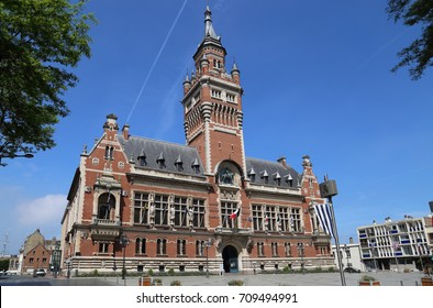 The town hall of Dunkirk and its belfry in France
