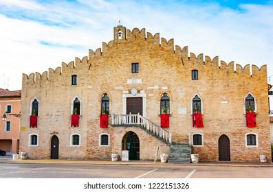 Town hall facade in piazza della Repubblica, Portogruaro, Veneto, Italy